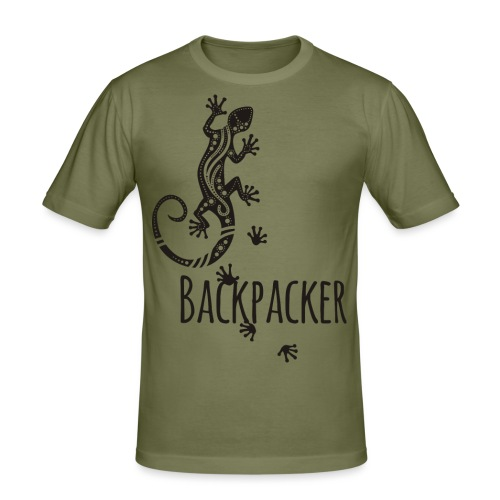 Backpacker - Running Ethno Gecko 1 - Männer Slim Fit T-Shirt