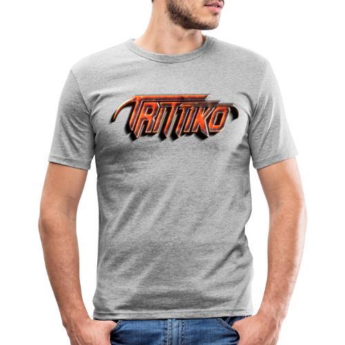 Trittiko Logo Rot 3D - Männer Slim Fit T-Shirt