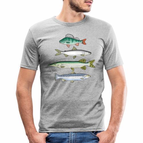 FOUR FISH - Ahven, siika, hauki ja taimen tuotteet - Miesten tyköistuva t-paita