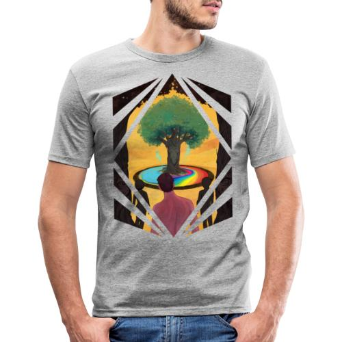 Traveller at the Tree of Creativity - Men's Slim Fit T-Shirt