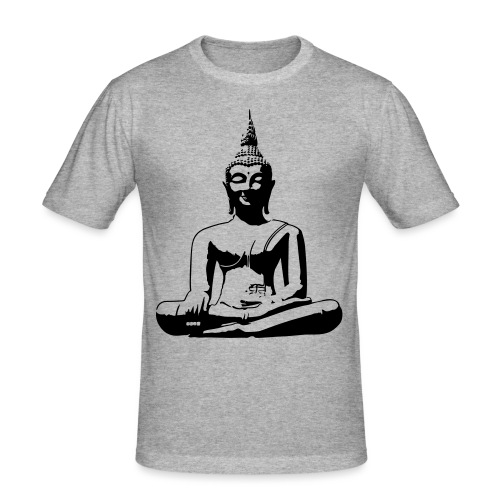Boeddha beeld - Mannen slim fit T-shirt
