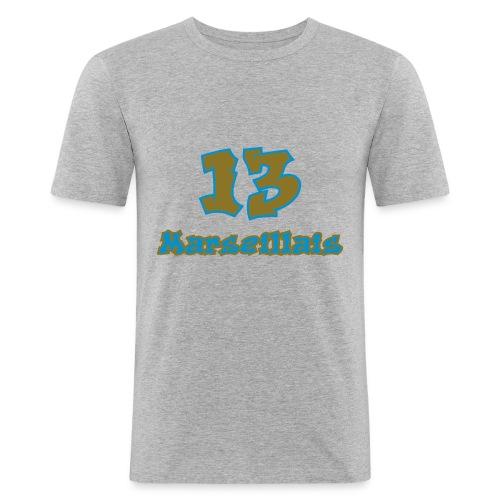 fier marseille blanc 03 - T-shirt près du corps Homme