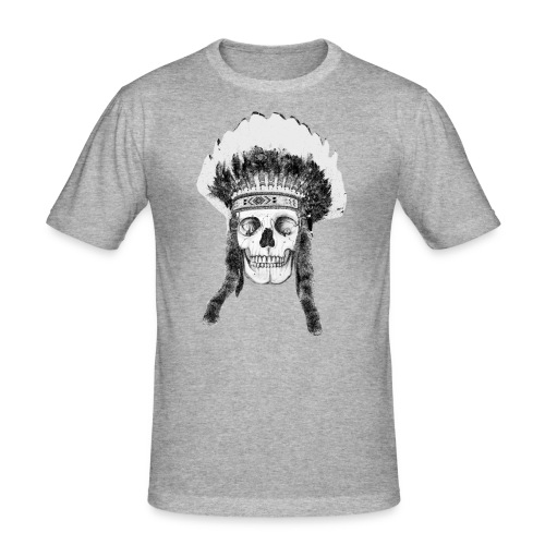 skull indian headdress - slim fit T-shirt
