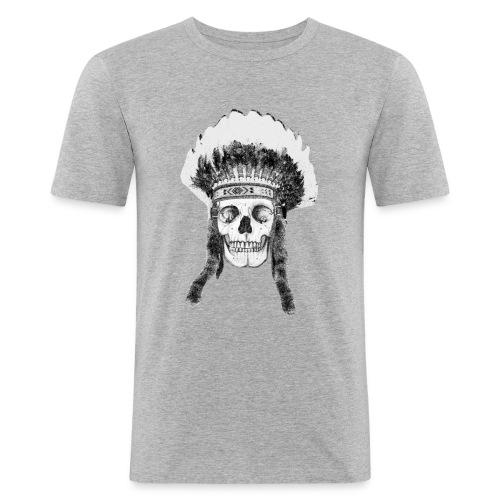 skull indian headdress - Mannen slim fit T-shirt