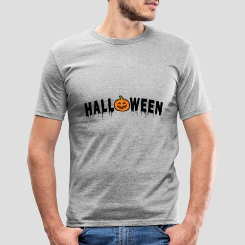 HALLOWEEN - mit Kürbis in Schwarz - Männer Slim Fit T-Shirt