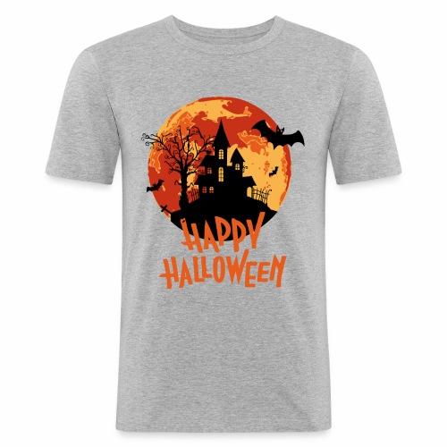 Bloodmoon Haunted House Halloween Design - Männer Slim Fit T-Shirt
