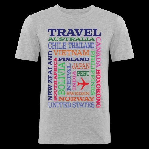 Travel Places design - Miesten tyköistuva t-paita