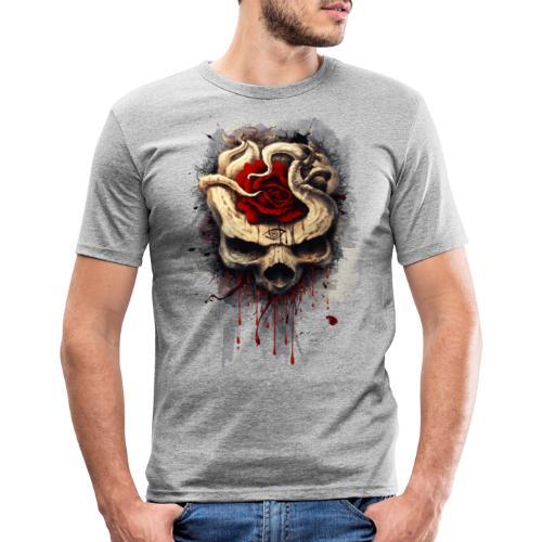 skull rose - Camiseta ajustada hombre