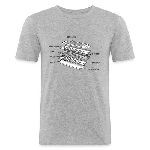 Exploded harmonica - black text - Men's Slim Fit T-Shirt
