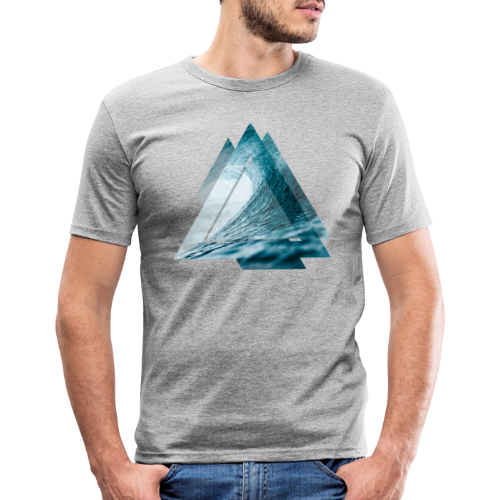 Dreieck Surfer Welle - Männer Slim Fit T-Shirt