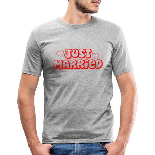 JUST MARRIED Partner Namen rot - Männer Slim Fit T-Shirt