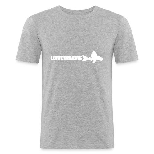 Loricariidae liten med tekst - Slim Fit T-skjorte for menn