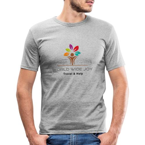World Wide Joy Logo Subline - Männer Slim Fit T-Shirt
