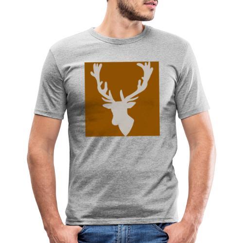 Hirch B BROWN WHITE - Männer Slim Fit T-Shirt