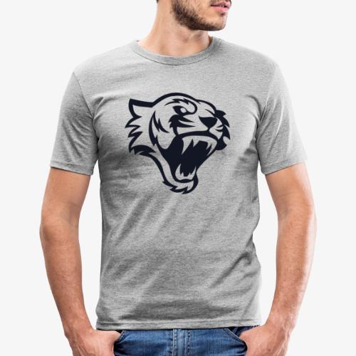 Tete tigre 300dpi noir - T-shirt près du corps Homme