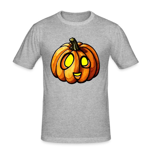 Pumpkin Halloween watercolor scribblesirii - Männer Slim Fit T-Shirt