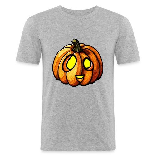 Pumpkin Halloween watercolor scribblesirii - Miesten tyköistuva t-paita