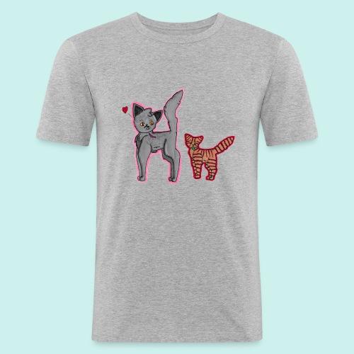 cat and kitten - Miesten tyköistuva t-paita