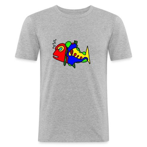 Tusche Fisch - Männer Slim Fit T-Shirt