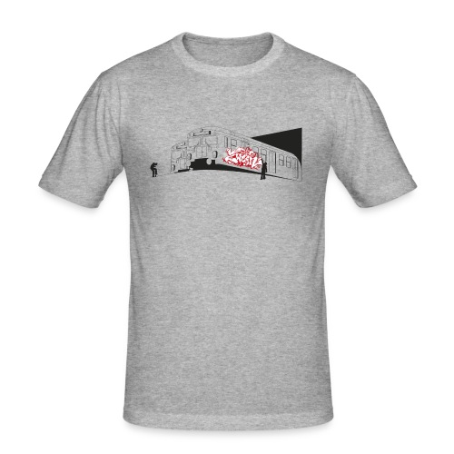 Throw up 2wear graffiti trains ver02 1 - Herre Slim Fit T-Shirt
