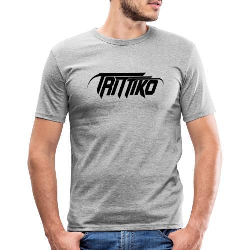 Trittiko Logo Schwarz - Männer Slim Fit T-Shirt