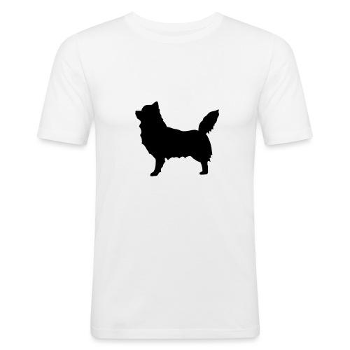 Chihuahua pitkakarva musta - Miesten tyköistuva t-paita