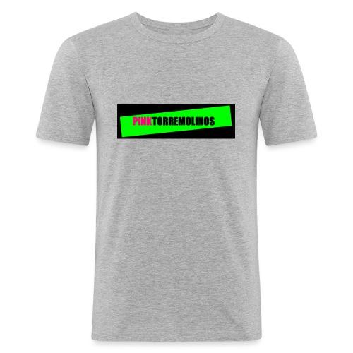 pinklogo - Mannen slim fit T-shirt