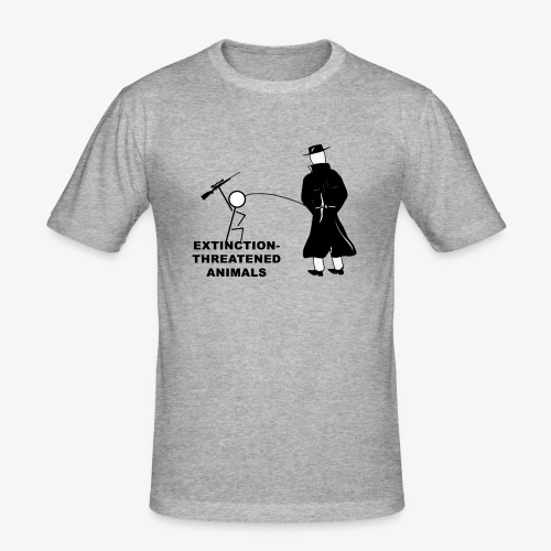 Pissing Man against hunting for endangered animals - Männer Slim Fit T-Shirt