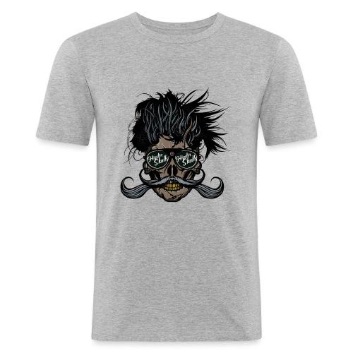 hipster skull tete de mort crane barbu moustache - T-shirt près du corps Homme