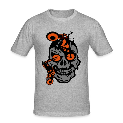 tete mort moto motrocycle oeil skull - T-shirt près du corps Homme
