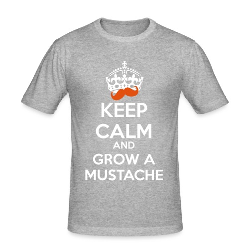 Mustache Keep Calm - Maglietta aderente da uomo