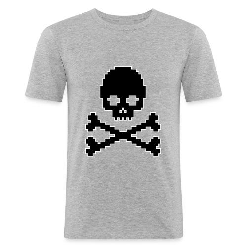 PIXEL SKULL med streg - Herre Slim Fit T-Shirt