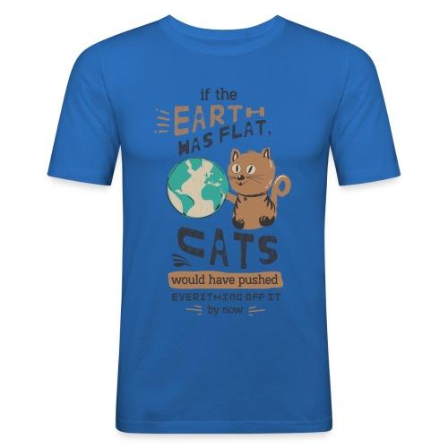 IF THE EARTH WAS FLAT - Slim Fit T-skjorte for menn