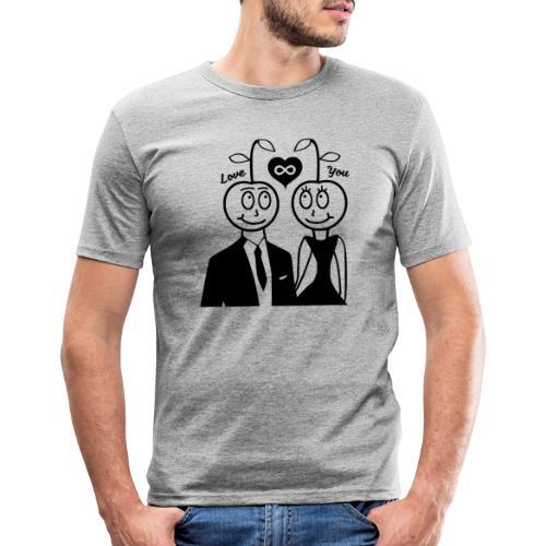 Happy Kirsche Schwarz - Männer Slim Fit T-Shirt