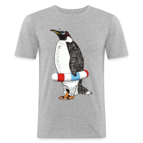 PENGUIN WAITS FOR SUMMER - Miesten tyköistuva t-paita