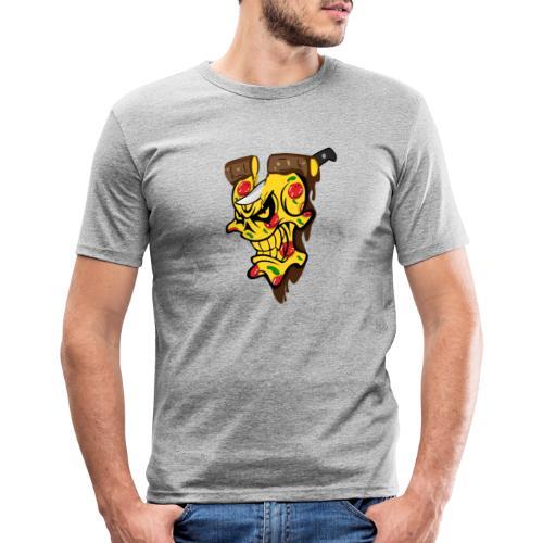 Pizza Schädel mit Messer - Männer Slim Fit T-Shirt