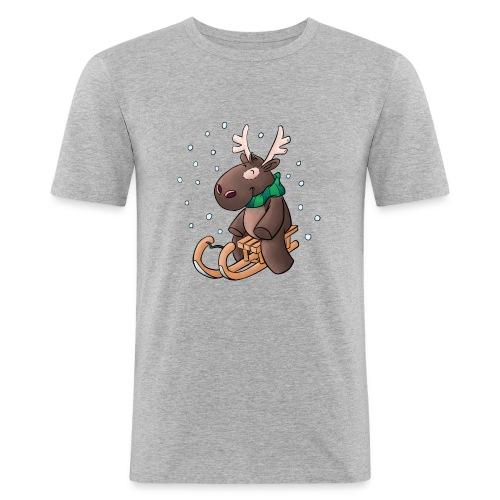 Elch - Kuschelelch mit Schlitten - Männer Slim Fit T-Shirt