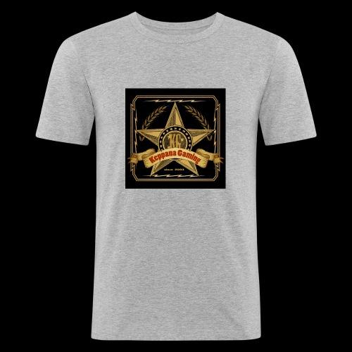 etiketti - Miesten tyköistuva t-paita