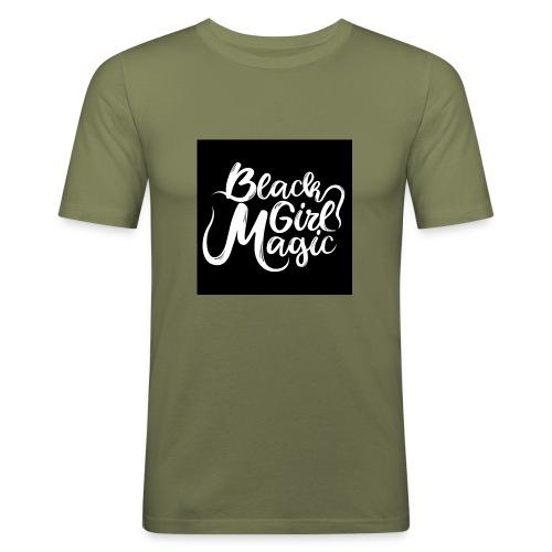 Black Girl Magic 1 White Text - Men's Slim Fit T-Shirt
