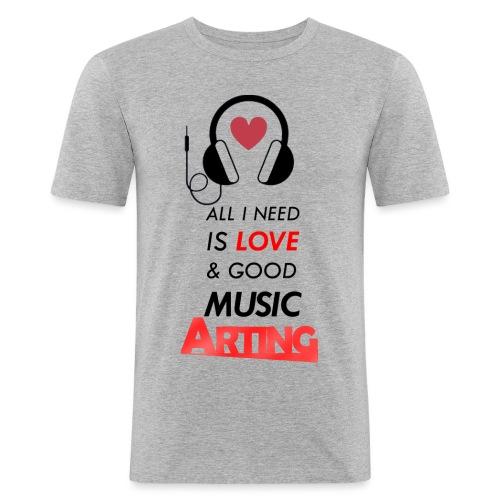 Solo necesitas amor y buena musica - Camiseta ajustada hombre