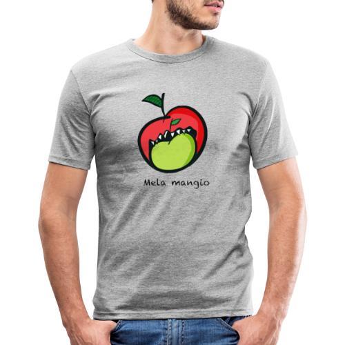 Angry for apple-Mela mangio - Maglietta aderente da uomo