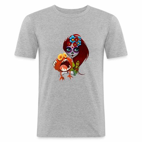 Catrina con Monstruo - Camiseta ajustada hombre