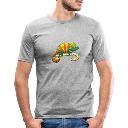 Christmas Chameleon on a Candy Cane - Men's Slim Fit T-Shirt