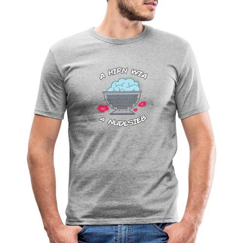 Vorschau: A Hirn wia a Nudlsieb - Männer Slim Fit T-Shirt