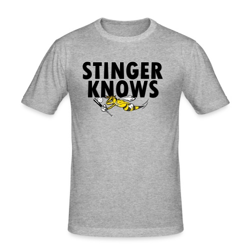 Stinger Knows blk Kopie png - Männer Slim Fit T-Shirt
