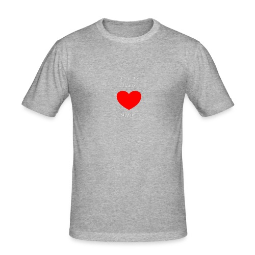 Antiquated Hearts Gothic White Lettering - Men's Slim Fit T-Shirt
