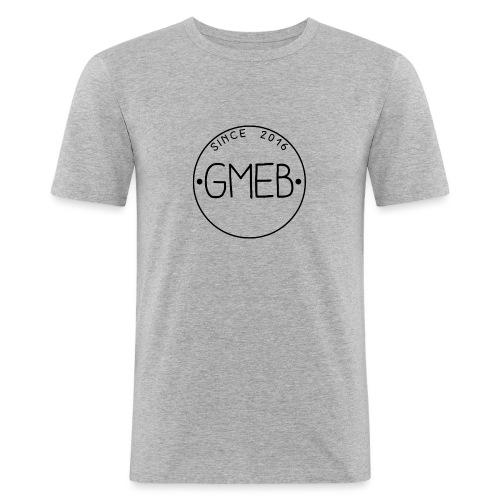doorschijnend logo ZWART - Mannen slim fit T-shirt