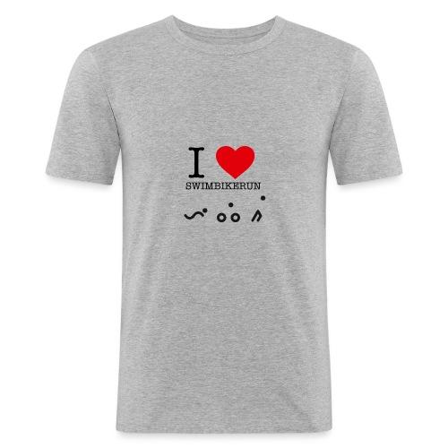 I love swim bike run - Slim Fit T-skjorte for menn