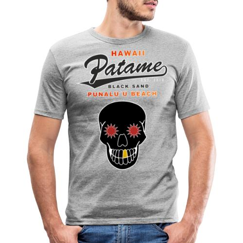 Patame Black Sand Beach with Skull - Männer Slim Fit T-Shirt