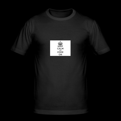 KEEP CALM AND CODE ON - Männer Slim Fit T-Shirt